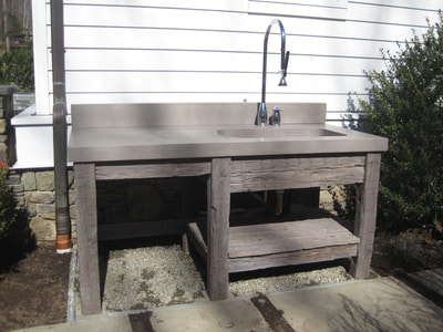 repurposed table for outdoor kitchen